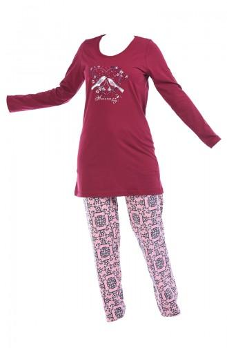 Langarm Pyjama-Set für Damen 705106-01 Weinrot 705106-01