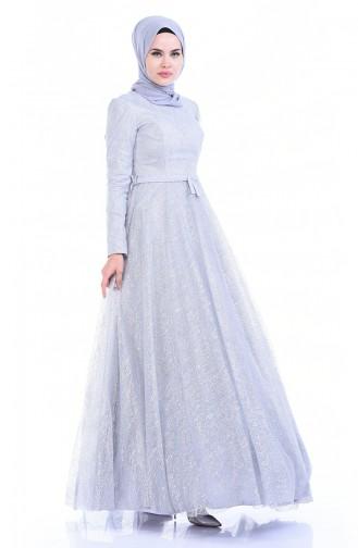 Silbernes Abendkleid 9264-01 Grau 9264-01