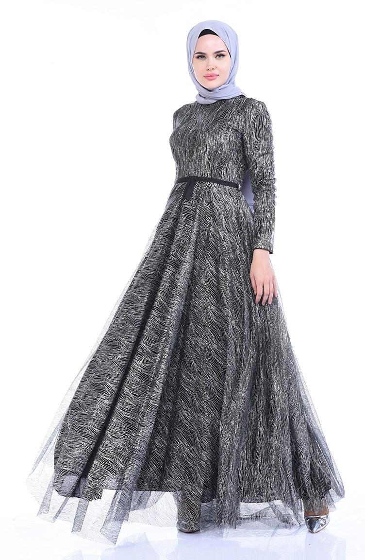 Silbernes Abendkleid 19A-19 Schwarz 19A-19