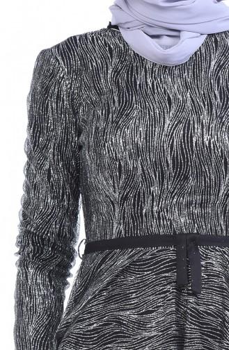 Simli Abiye Elbise 9264A-01 Siyah