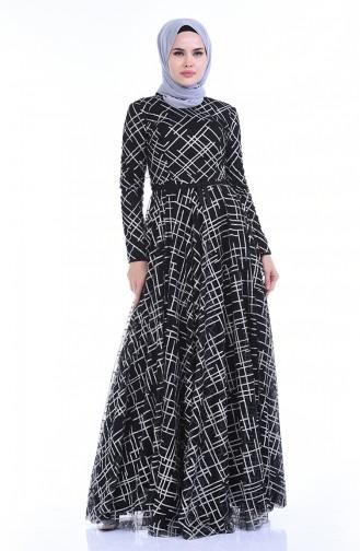 Black Islamic Clothing Evening Dress 9264B-01