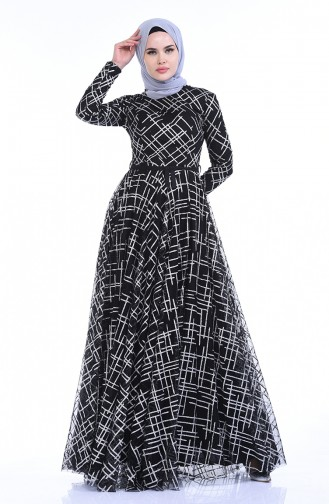 Silbernes Abendkleid 9264B-01 Schwarz 9264B-01