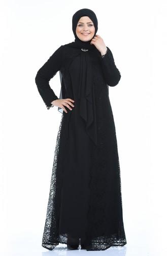 Grosse Grösse Set Aussehendes Abendkleid 4001-06 Schwarz 4001-06