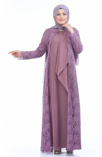 Büyük Beden Takım Görünümlü Abiye Elbise 4001-07 Gül Kurusu