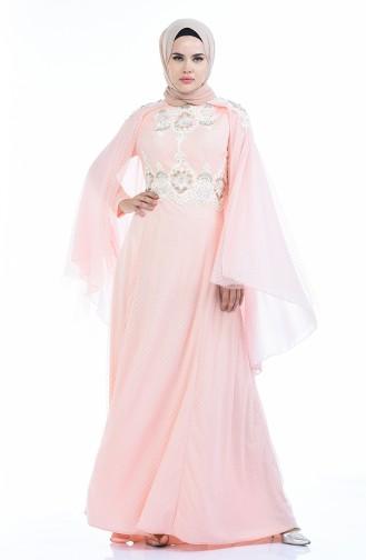 Powder Hijab Evening Dress 5029-02