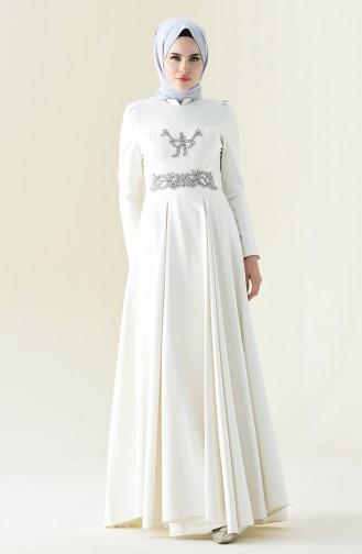 Taşlı Abiye Elbise 7029-01 Ekru