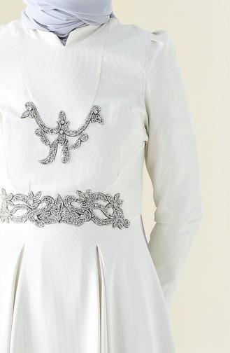 Robe de Soirée Perlées 7029-01 Écru 7029-01