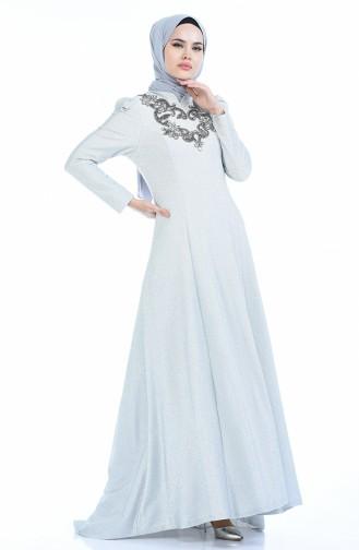 Silbernes Abendkleid 7057-03 Hell Silber 7057-03
