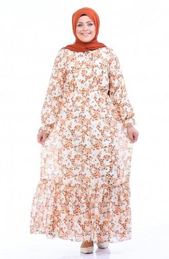 Gemustertes Chiffon Kleid 1280-03 Naturfarbe 1280-03