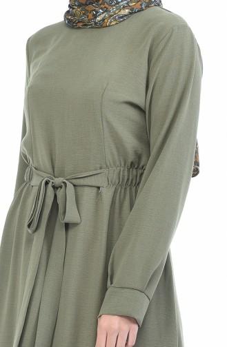 Aerobin Stoff Kleid mit Band  1284-07 Khaki 1284-07