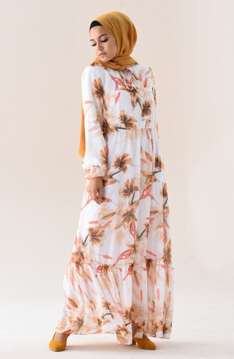 Gemustertes Chiffon Kleid 1295-01 Naturfarbe Senf 1295-01