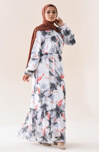 Desenli Şifon Elbise 1295-02 Ekru Siyah