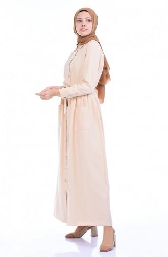Geknöpftes Kleid mit Tasche 4286-02 Beige 4286-02