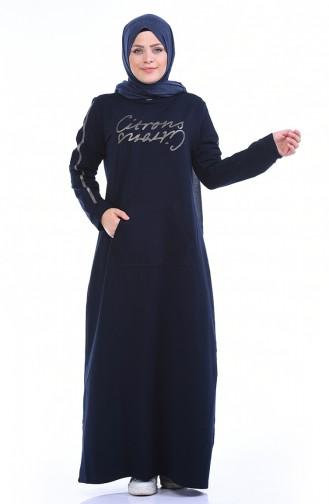 فستان أزرق كحلي 10008-02