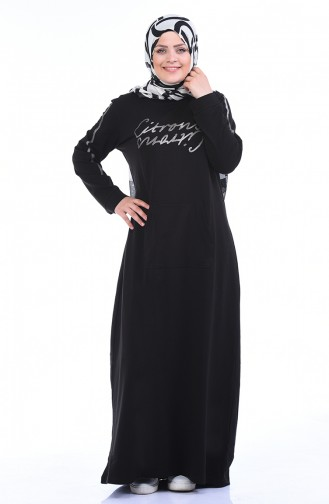 Büyük Beden Baskılı Spor Elbise 10008-05 Siyah