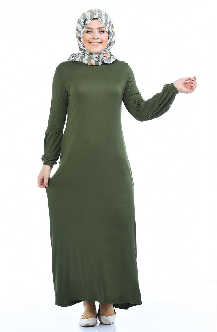 Gekammtes Kleid mit Gummi 17-17 Khaki Grün 17-17