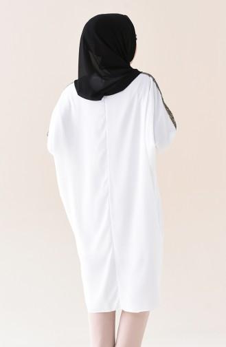 Tunique avec Collier Manches Chauve Souris 1039-03 Blanc 1039-03