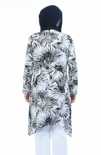 Grosse Grösse Gemustertes Kleid 7649-01 Schwarz 7649-01
