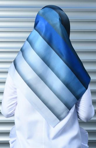Bedruckter Taffet Kopftuch  95291-07 Blau 95291-07