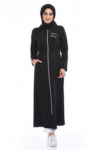 Sport Abaya mit Reissverschluss 2061-01 Schwarz 2061-01