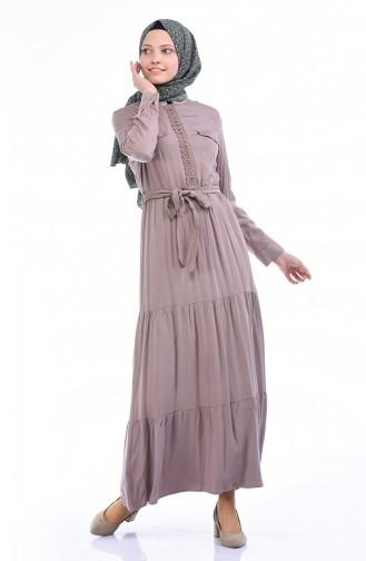 فستان بني مائل للرمادي 7K3701800-03