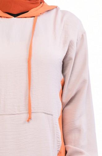 Ensemble Deux Pieces Tunique Pantalon Tissu Aerobin 6574A-01 Vison Orange 6574A-01