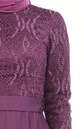 Robe de Soirée a Ceinture 9009-01 Plum 9009-01