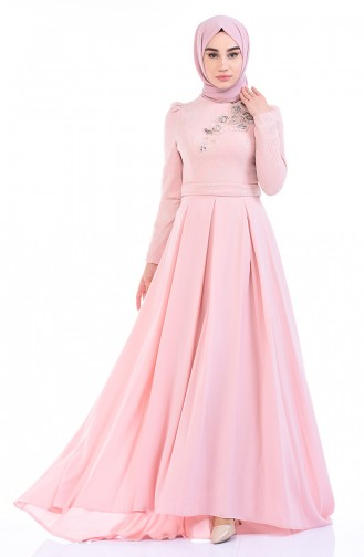 Powder Islamic Clothing Evening Dress 7027-01