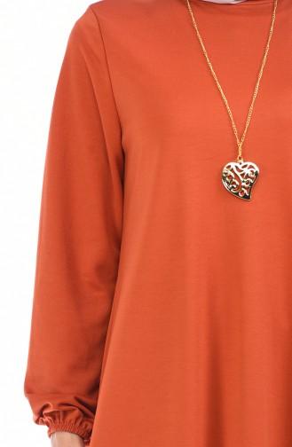 فستان قرميدي 0103-08