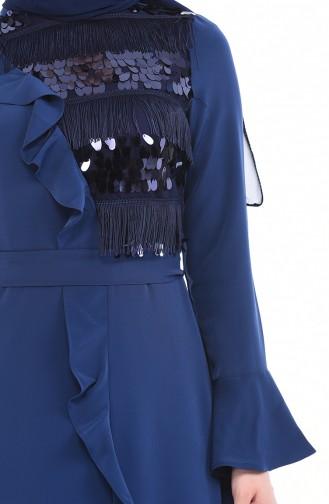 Robe a Paillettes 8017-03 İndigo 8017-03