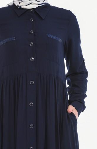 Gerafftes Kleid  99208-03 Dunkelblau 99208-03