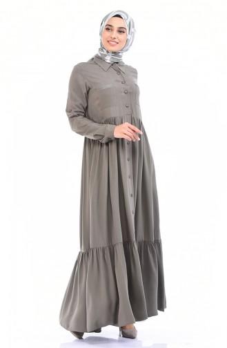 فستان أخضر كاكي باهت 99208-08