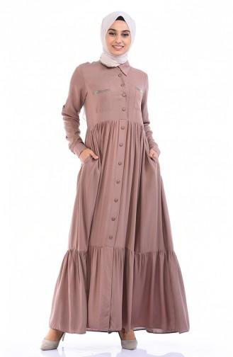 فستان كستنائي 99208-09