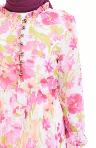 Gemustertes Chiffon Kleid  8346-01 Pink Grün 8346-01