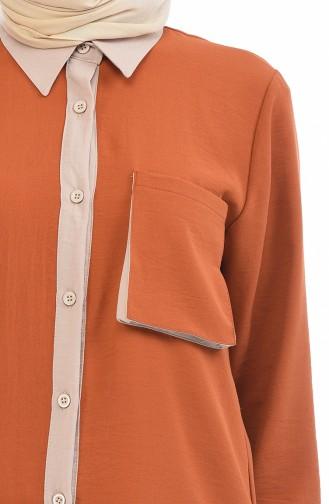 Tensel Kumaş Tunik Pantolon İkili Takım 6353-04 Kiremit Vizon