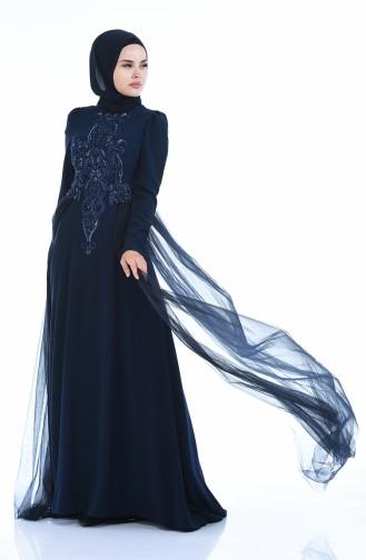 Navy Blue Islamic Clothing Evening Dress 5209-01