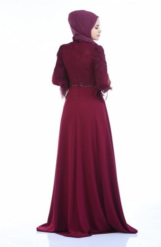 Dantelli Abiye Elbise 7028-01 Mürdüm