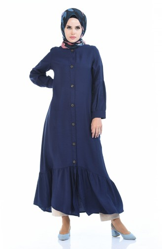 Navy Blue İslamitische Jurk 0002-03