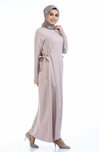 Seitlich gebundenes Kleid 0249-07 Beige 0249-07