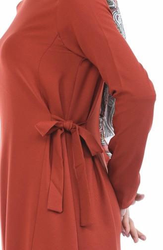 Seitlich gebundenes Kleid 0249-08 Ziegelrot 0249-08