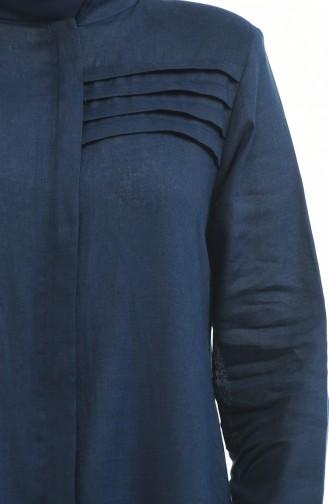 Grosse Grösse Leinen Abaya mit Tasche 0375-02 Dunkelblau 0375-02