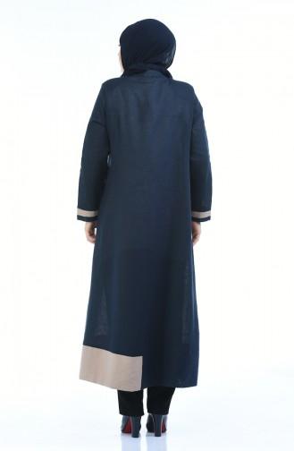 Abaya Lin Grande Taille 0377-01 Bleu Marine 0377-01