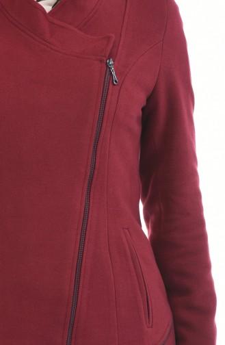معطف طويل أحمر كلاريت 1488-02