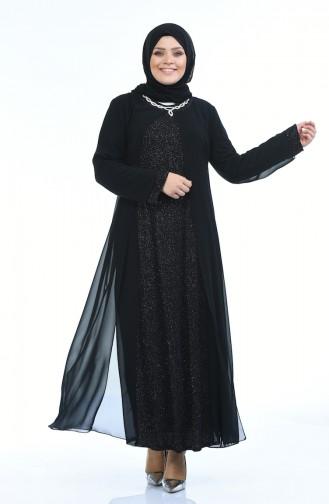 فساتين سهرة بتصميم اسلامي أسود 1043-03