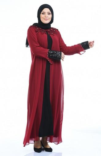 Büyük Beden Taşlı Abiye Elbise 6055-04 Bordo