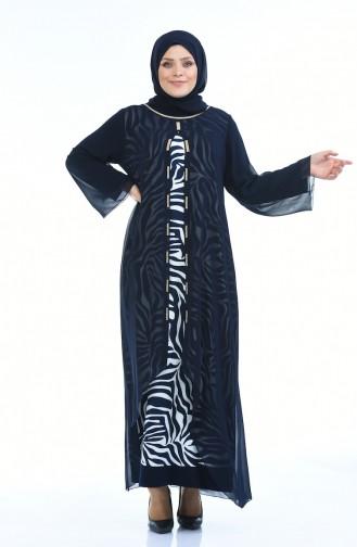 فساتين سهرة بتصميم اسلامي أزرق كحلي 5940-01
