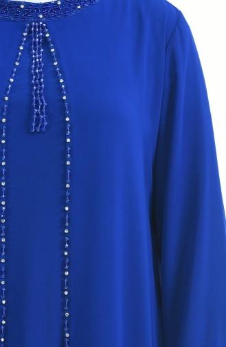 Saks-Blau Hijab-Abendkleider 6227-04