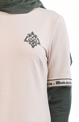 Stickerei Detailliertes Sportkleid 4066-05 Beige Khaki 4066-05