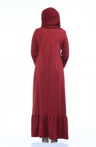 Robe Brodée Manches élastique 4077-04 Bordeaux 4077-04