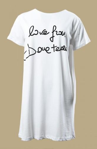 T-shirt Basique Imprimé 0013Y-01 Blanc 0013Y-01